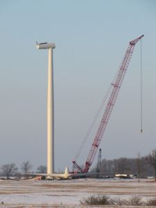 first tower and turbine in place awaiting blades Feb.13/13